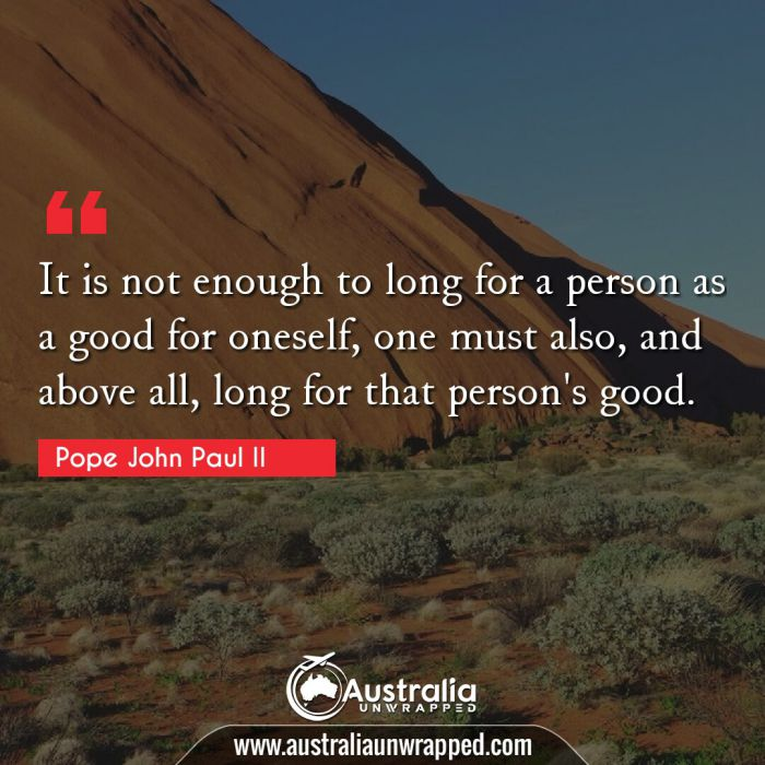 It is not enough to long for a person as a good for oneself, one must also, and above all, long for that person's good.