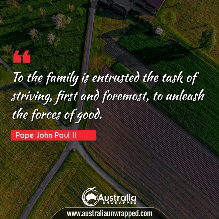 To the family is entrusted the task of striving, first and foremost, to unleash the forces of good.