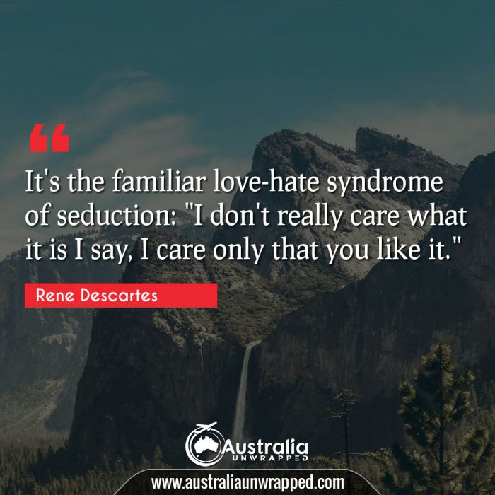 """It's the familiar love-hate syndrome of seduction: I don't really care what it is I say  I care only that you like it."""""""""""