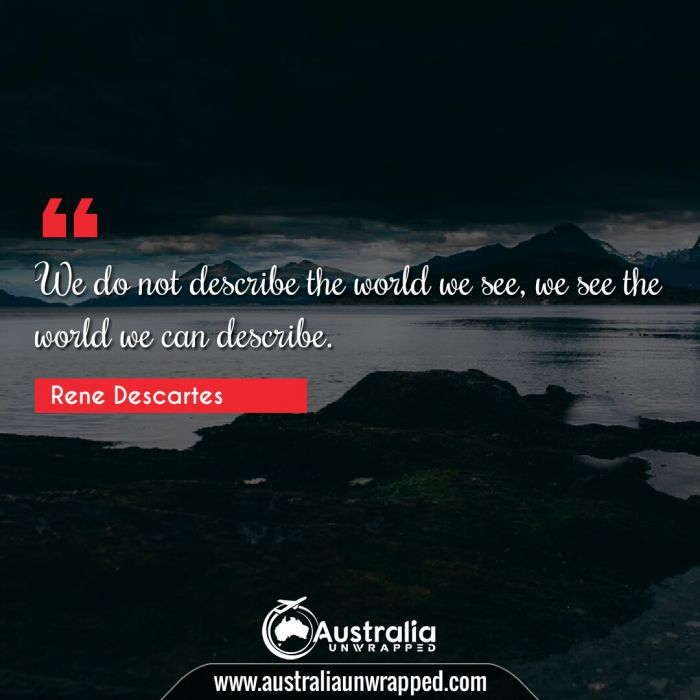 We do not describe the world we see, we see the world we can describe.