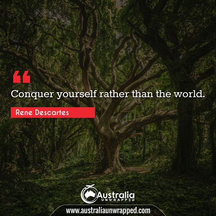 Conquer yourself rather than the world.