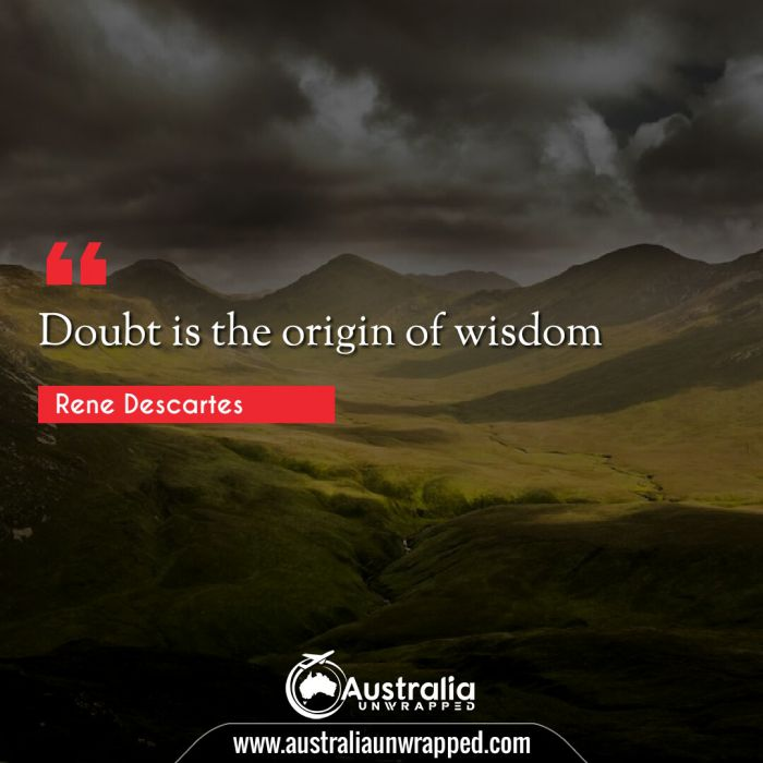 Doubt is the origin of wisdom