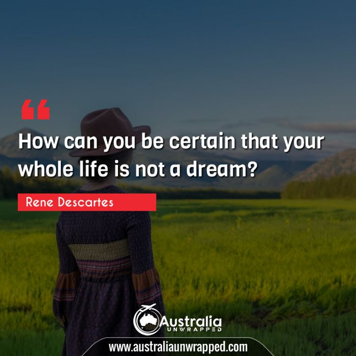 How can you be certain that your whole life is not a dream?