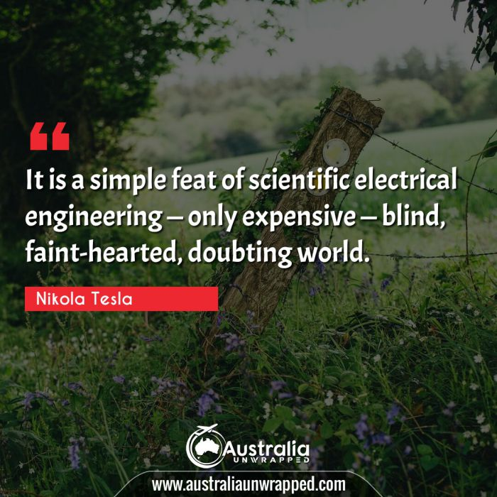 It is a simple feat of scientific electrical engineering — only expensive — blind, faint-hearted, doubting world.