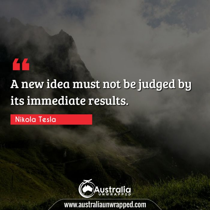 A new idea must not be judged by its immediate results.