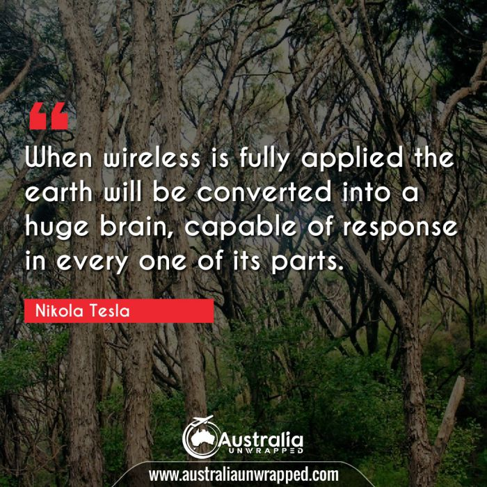 When wireless is fully applied the earth will be converted into a huge brain, capable of response in every one of its parts.