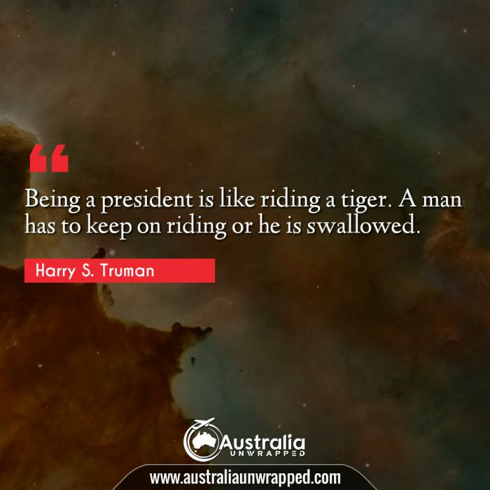 Being a president is like riding a tiger. A man has to keep on riding or he is swallowed.