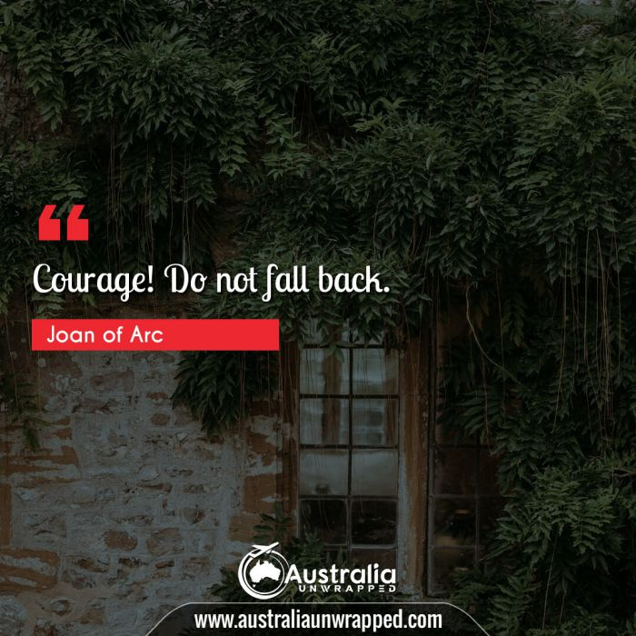 Courage! Do not fall back.