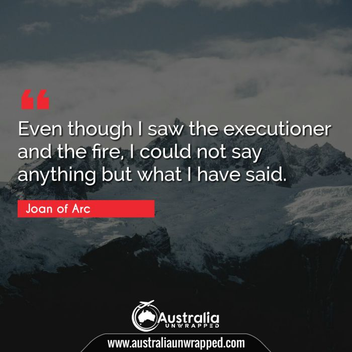 Even though I saw the executioner and the fire, I could not say anything but what I have said.