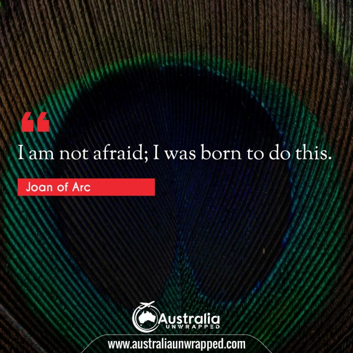 I am not afraid; I was born to do this.