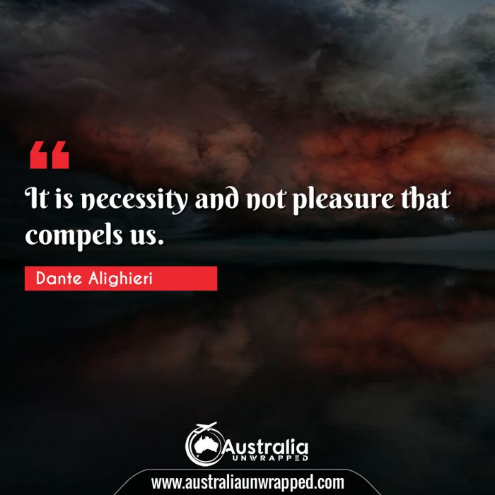 It is necessity and not pleasure that compels us.