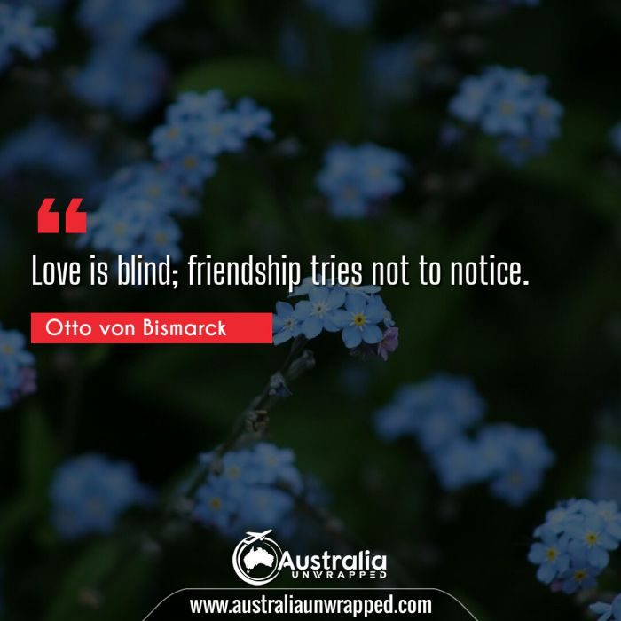 Love is blind; friendship tries not to notice.