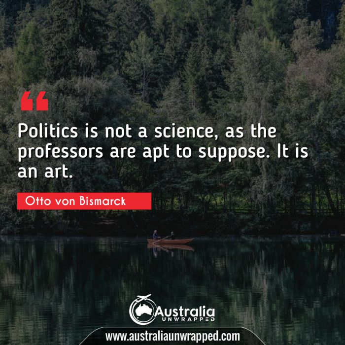 Politics is not a science, as the professors are apt to suppose. It is an art.
