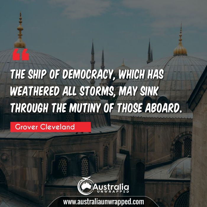 The ship of Democracy, which has weathered all storms, may sink through the mutiny of those aboard.