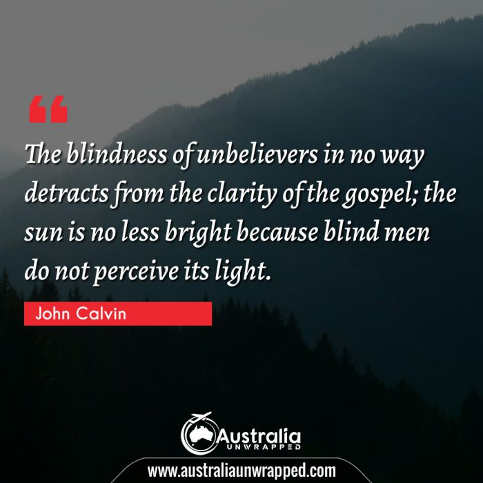 The blindness of unbelievers in no way detracts from the clarity of the gospel; the sun is no less bright because blind men do not perceive its light.