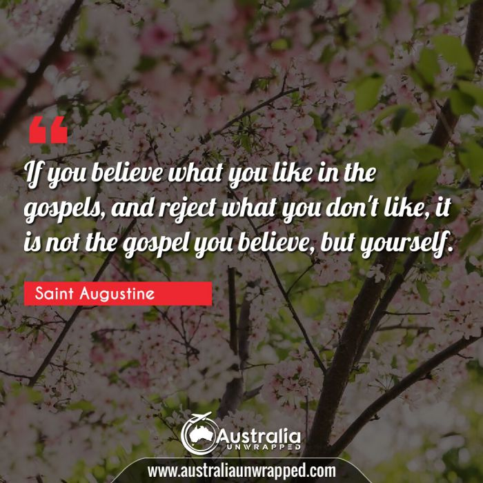 If you believe what you like in the gospels, and reject what you don't like, it is not the gospel you believe, but yourself.