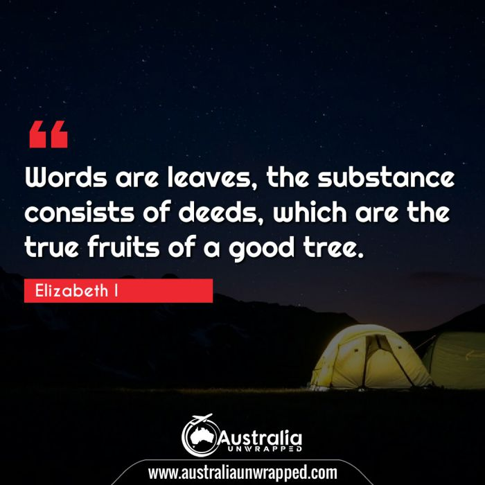 Words are leaves, the substance consists of deeds, which are the true fruits of a good tree.