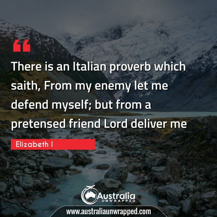 There is an Italian proverb which saith, From my enemy let me defend myself; but from a pretensed friend Lord deliver me