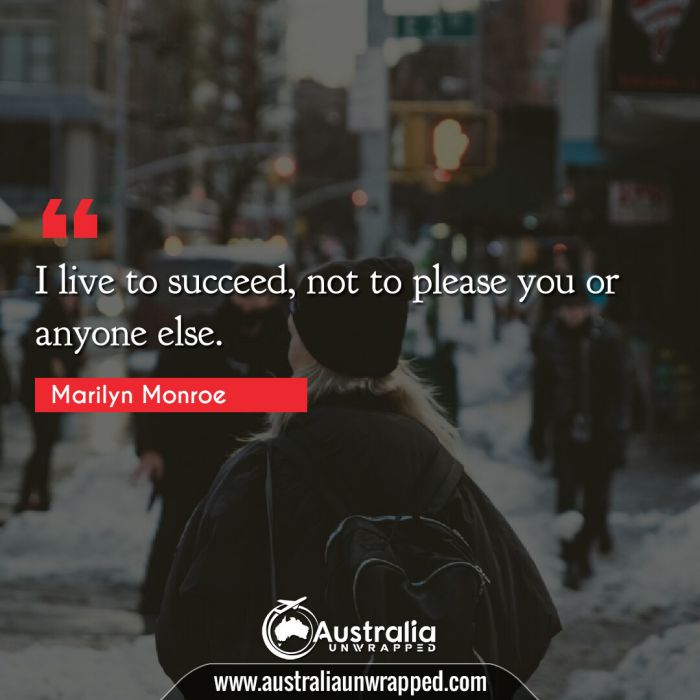 I live to succeed, not to please you or anyone else.