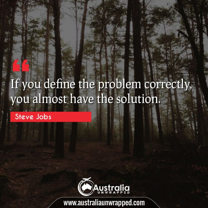 If you define the problem correctly, you almost have the solution.