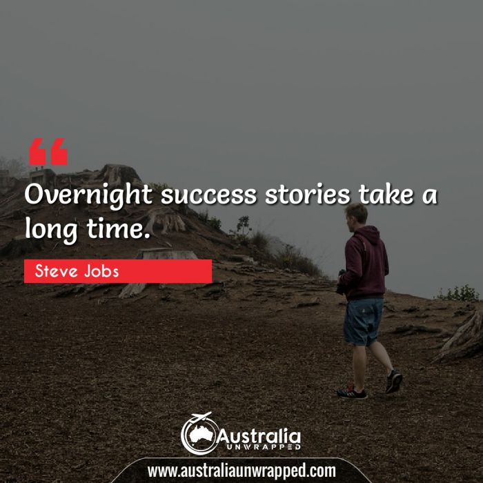 Overnight success stories take a long time.