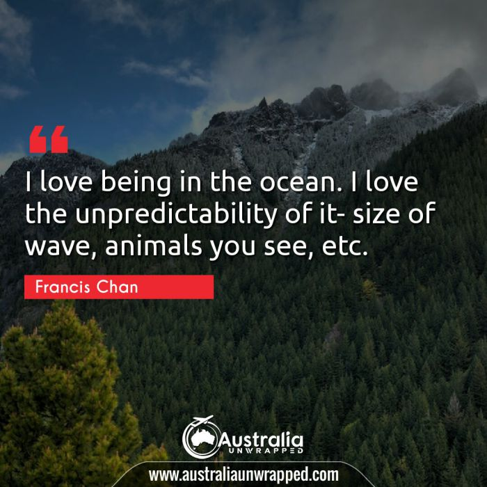 I love being in the ocean. I love the unpredictability of it- size of wave, animals you see, etc.