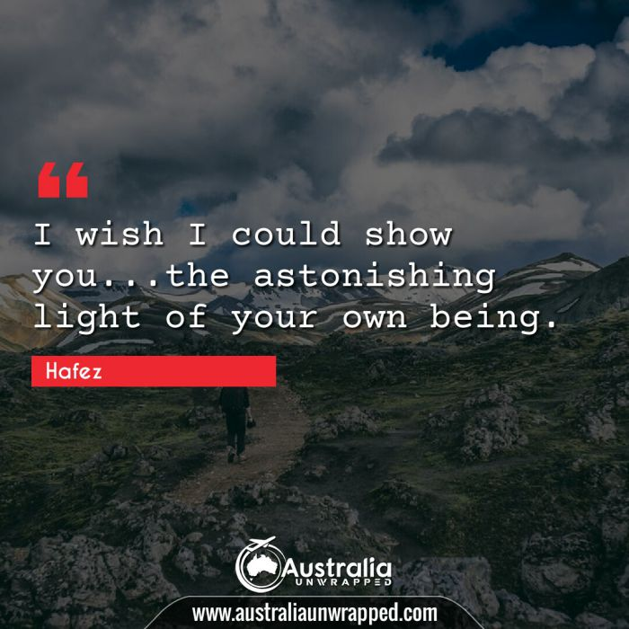 I wish I could show you…the astonishing light of your own being.