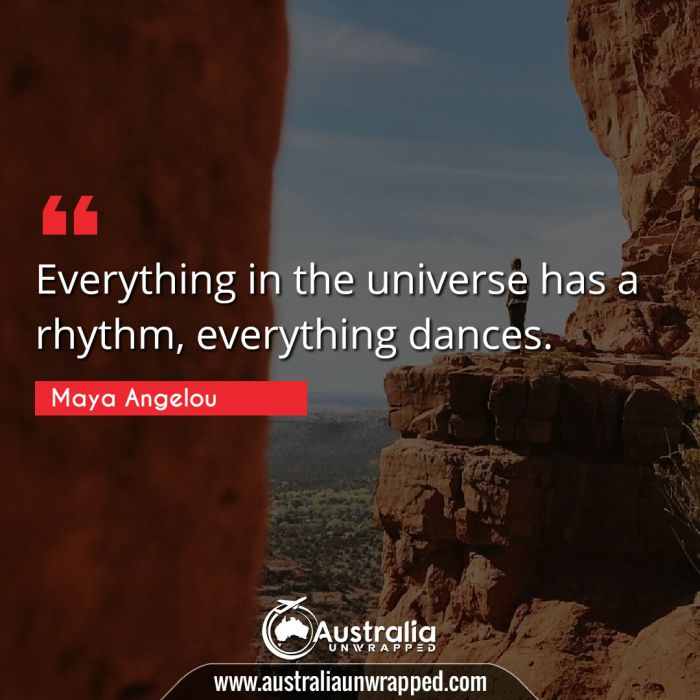 Everything in the universe has a rhythm, everything dances.