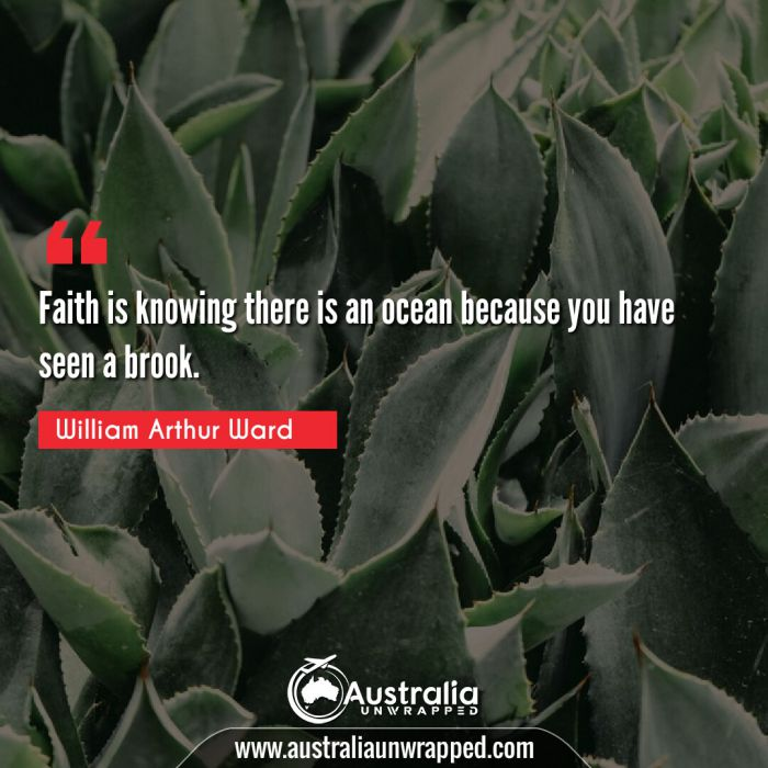 Faith is knowing there is an ocean because you have seen a brook.