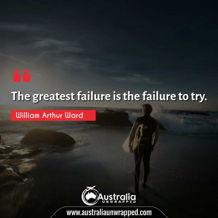The greatest failure is the failure to try.