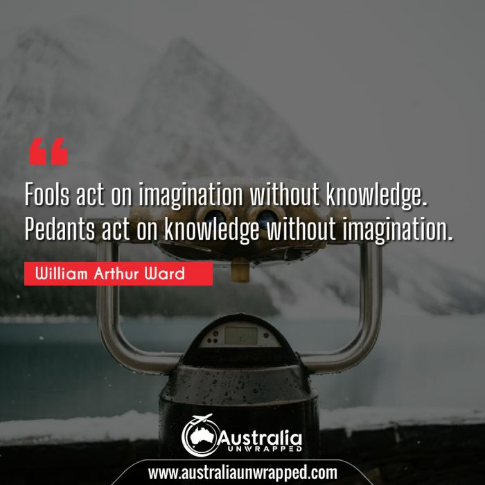 Fools act on imagination without knowledge. Pedants act on knowledge without imagination.