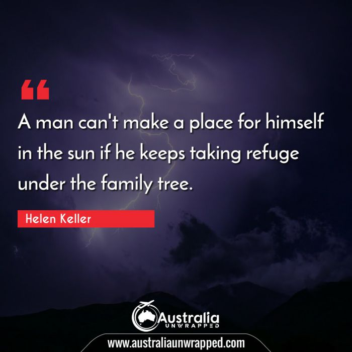A man can't make a place for himself in the sun if he keeps taking refuge under the family tree.