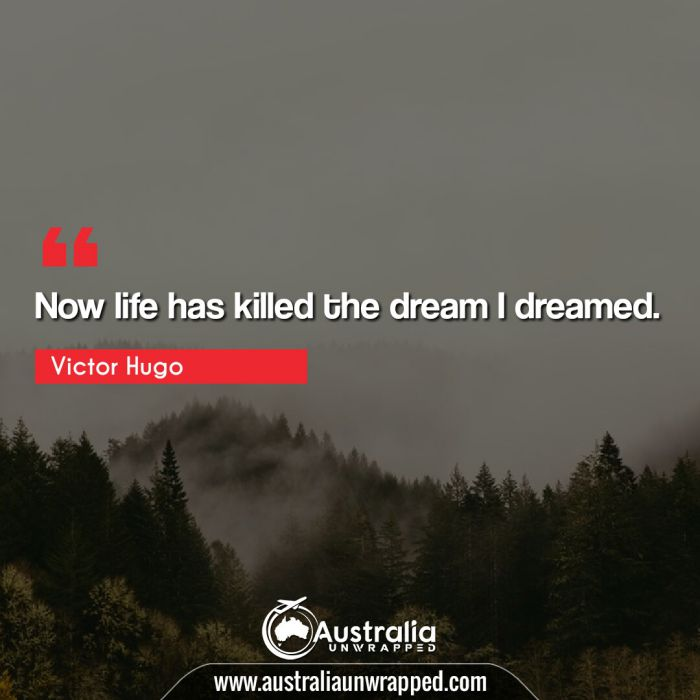 Now life has killed the dream I dreamed.
