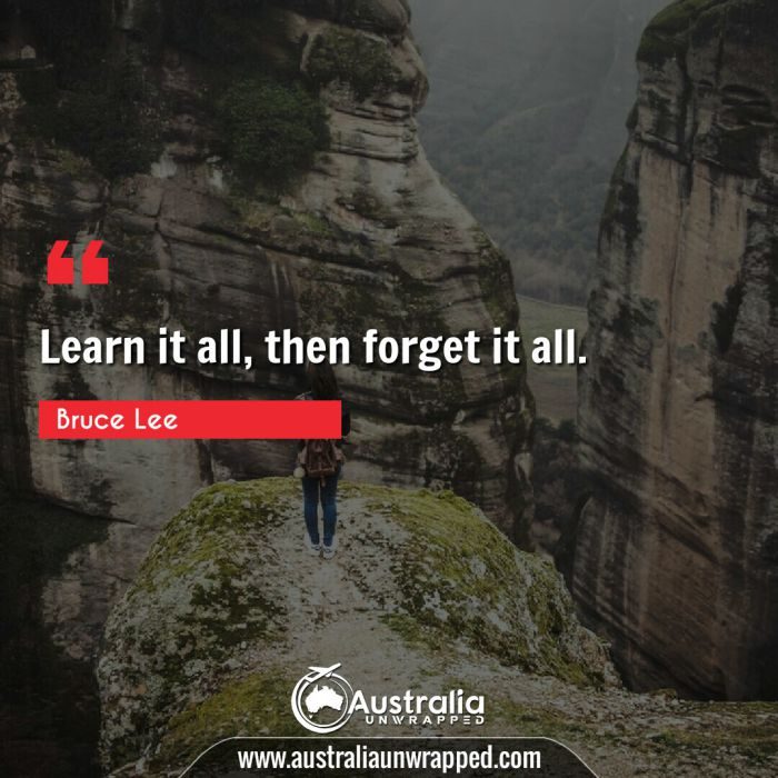 Learn it all, then forget it all.