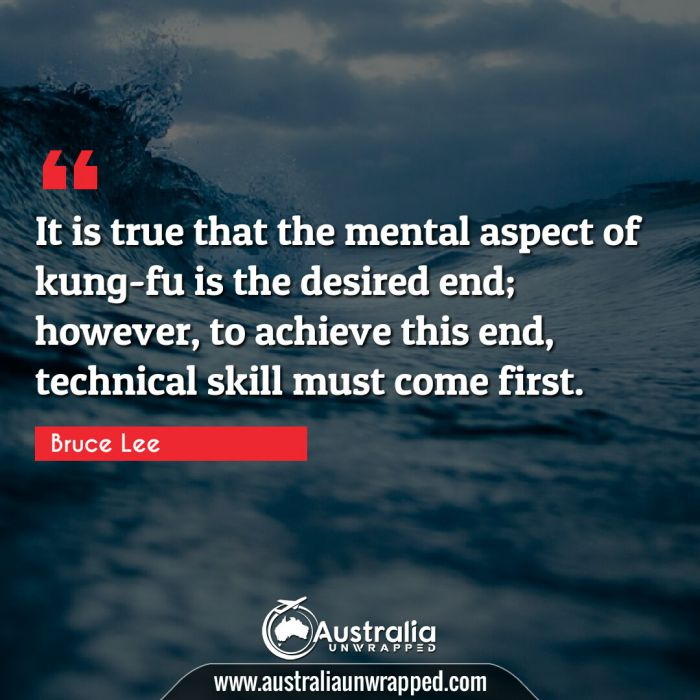It is true that the mental aspect of kung-fu is the desired end; however, to achieve this end, technical skill must come first.