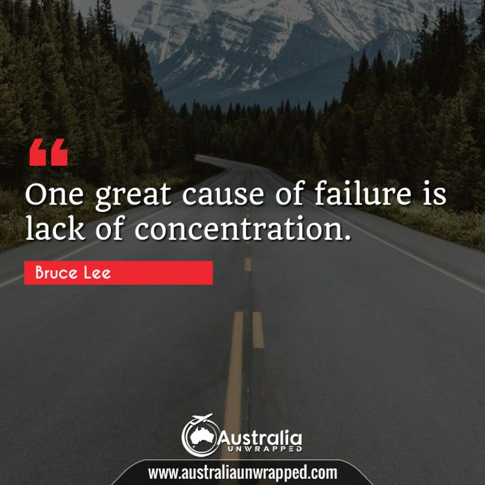 One great cause of failure is lack of concentration.