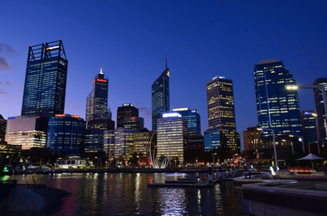 A breathtaking scenery of Perth at night