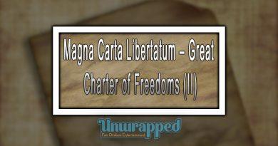 Magna Carta Libertatum – Great Charter of Freedoms (II)