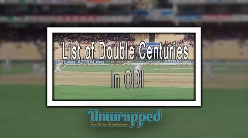 List of Double Centuries In ODI